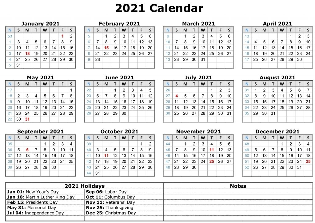 July 2021 Calendar Printable With Holidays