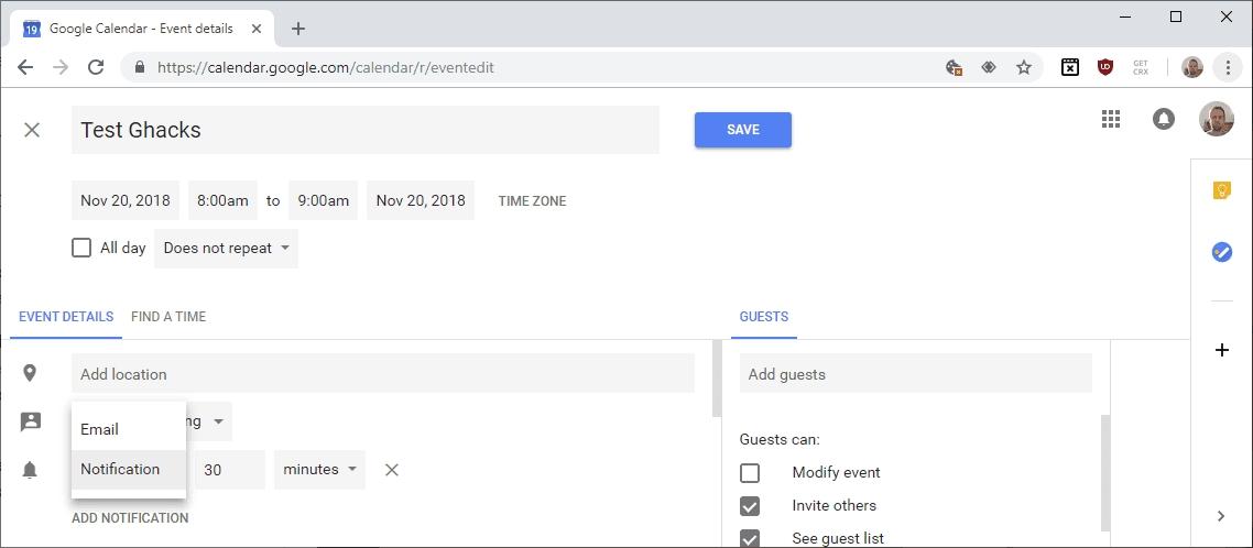 Google Calendar Text Notifications