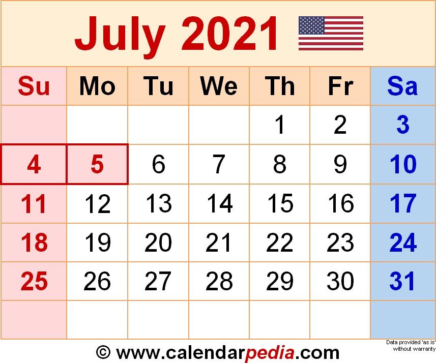 Calendar July 2021 Template