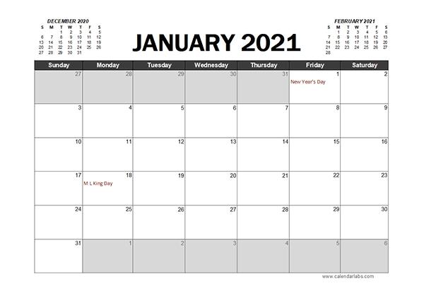 Excel Calendar 2021 Planner