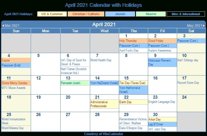 Print Friendly April 2021 Us Calendar For Printing