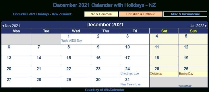 December 2021 Calendar Nz
