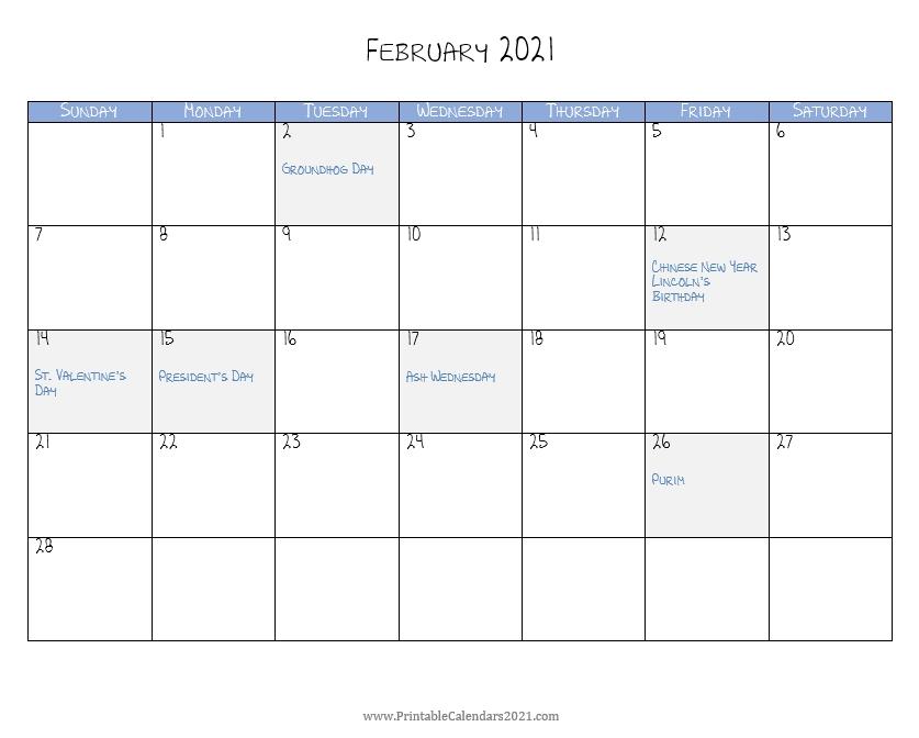 February 2021 Landscape Portrait Calendar Template