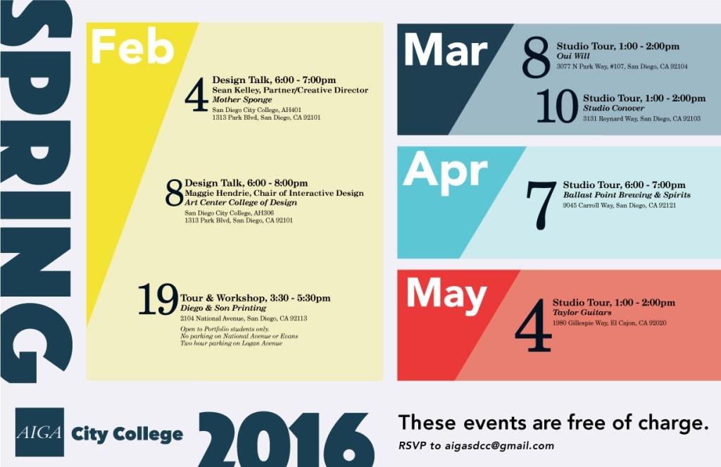 Spring 2016 Aiga City College Calendar – Sdcc Graphic Design