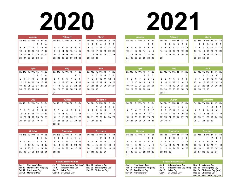2021 2020 Calendar 2