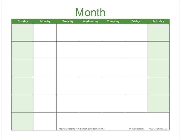 Blank Calendar Template – Free Printable Blank Calendars