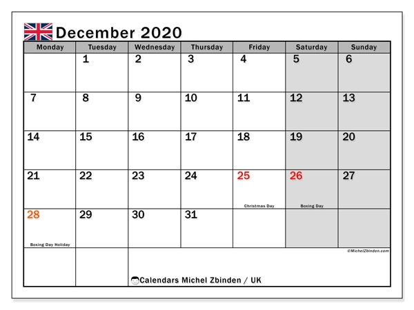 December 2020 Calendar With Holidays Uk