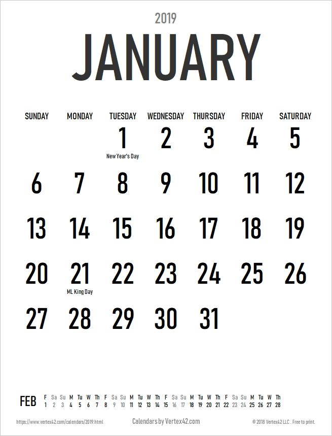 Free Download Printable January 2021 Calendar Large Font