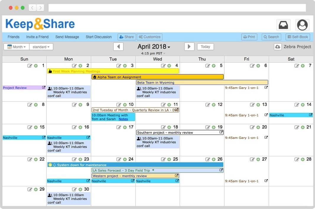 Online Monthly Calendar