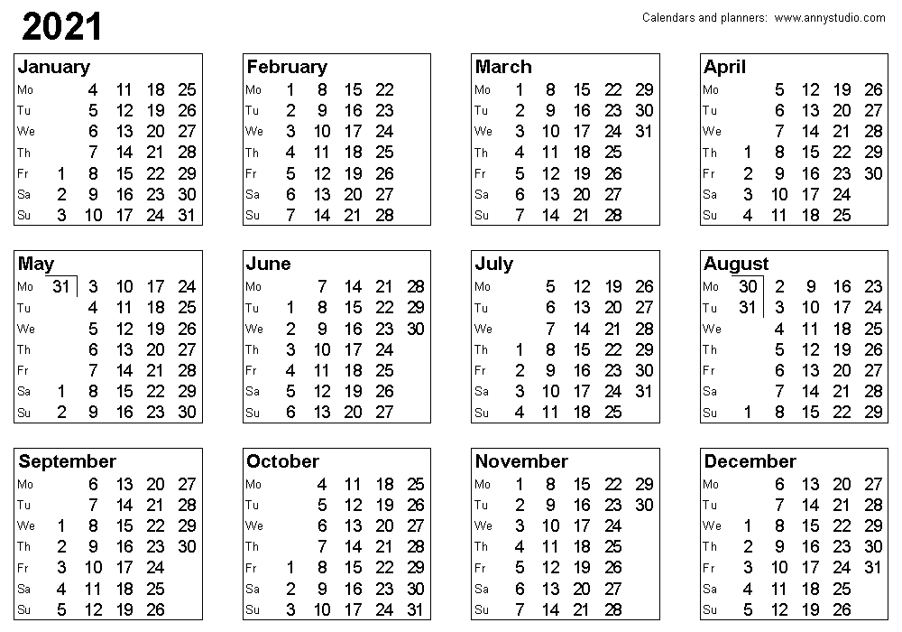 2021 Calendar With Weekly Planner