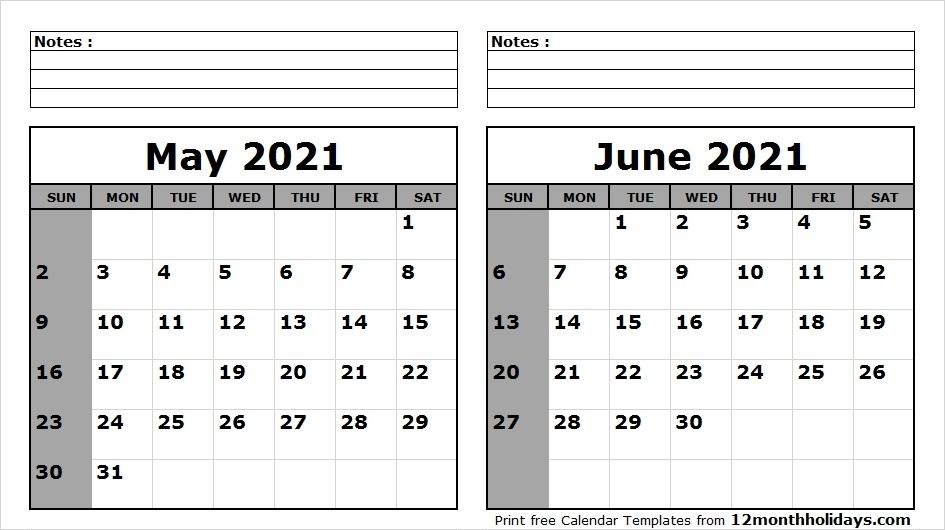 June 2021 Printable Calendar 2