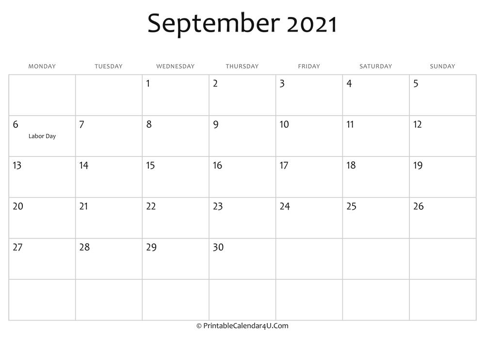 September 2021 Calendar Printable