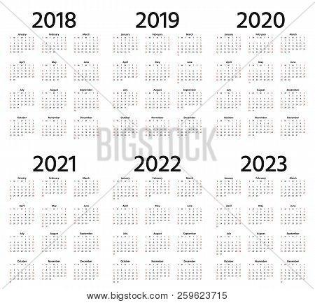 5 Year Calendar 2018-2019-2020-2021-2022 Calendars