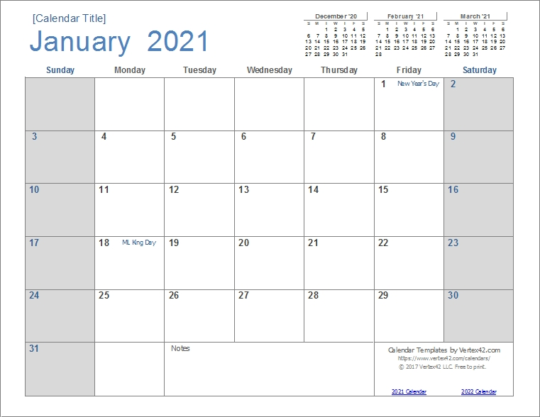 2021 Calendar By Month Template