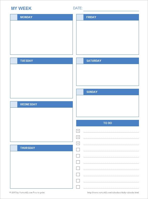 Daily Calendar Printable