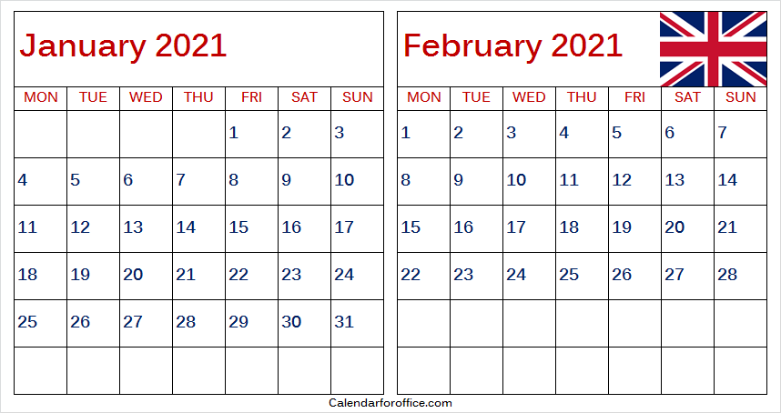 January 2021 Calendar-United Kingdom