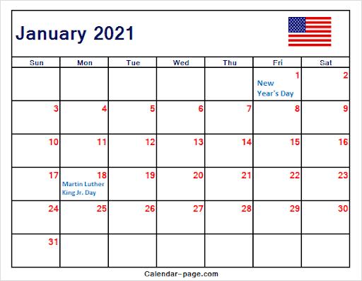 January 2021 Calendar USA