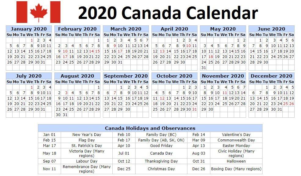 January February 2021 Calendar Canada