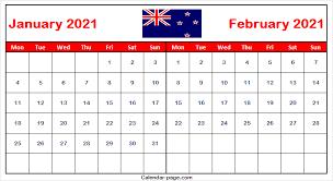 January 2021 Calendar New Zealand