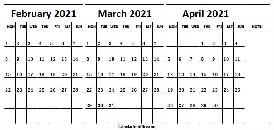 2021 Printable Calendar February to April