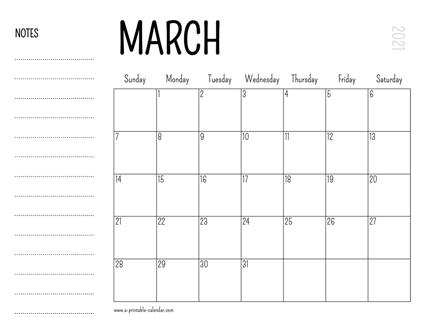 2021 March Calendar Template