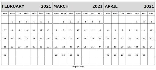 Blank Printable Calendar 2021 February to April