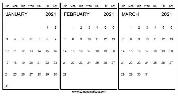 February March Printable Calendar 2021 Excel