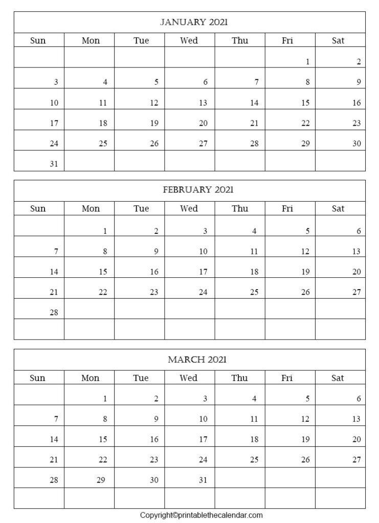 Free Blank Calendar February March 2021