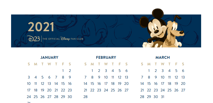 Mickey Mouse Printable Calendar 2021
