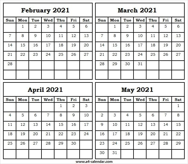 Blank Calendar 2021 February to May