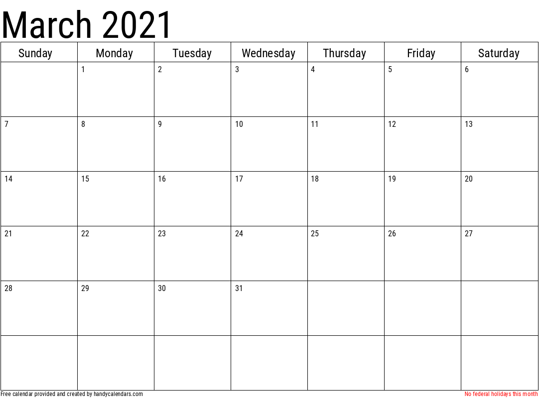 Calendar 2021 March Month