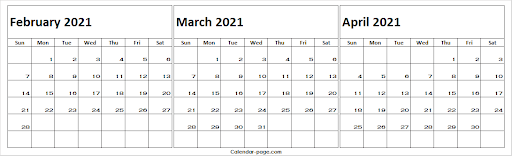 Feb to Apr Calendar 2021 Printable Template