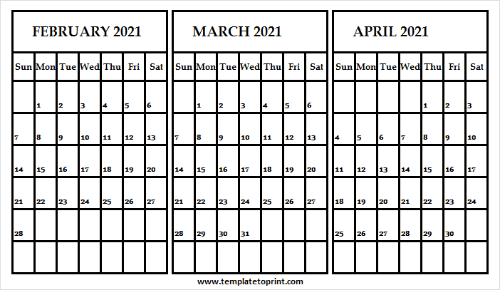 Feb to Apr 2021 Calendar Blank Template