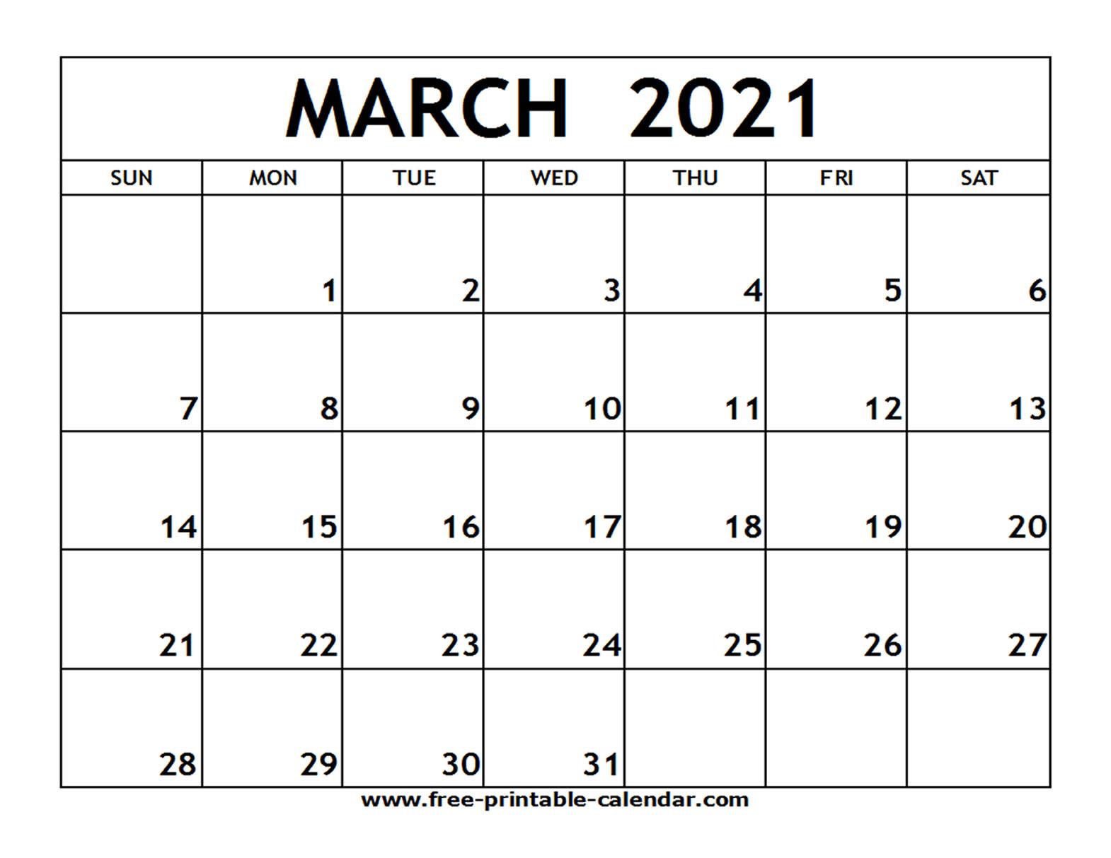 Free Blank Calendar March 2021