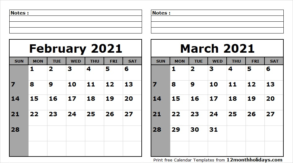 Monthly Calendar 2021 February March