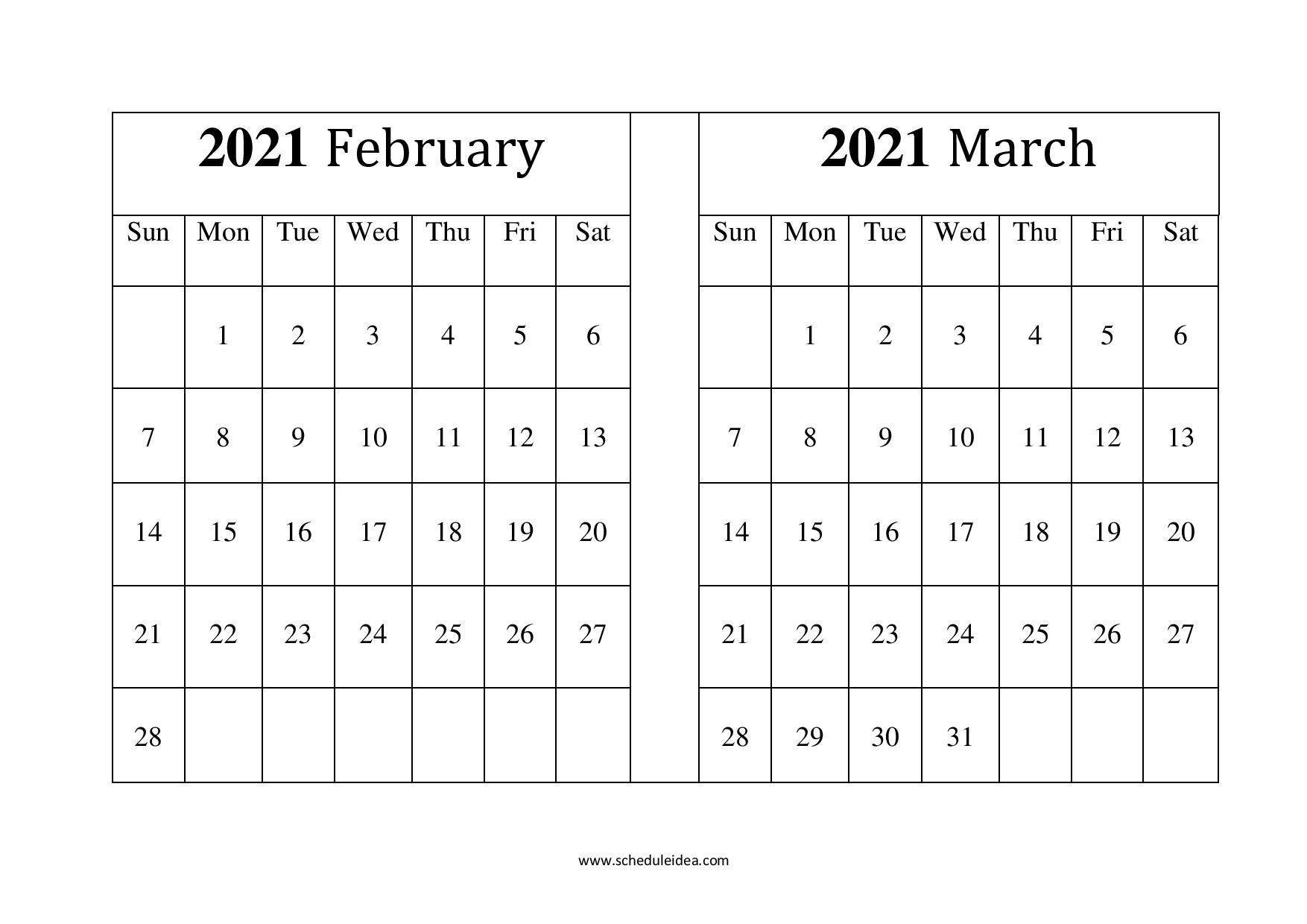 Print Calendar February March 2021