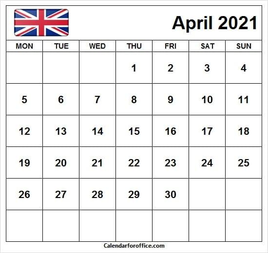 Calendar 2021 April with UK Flag
