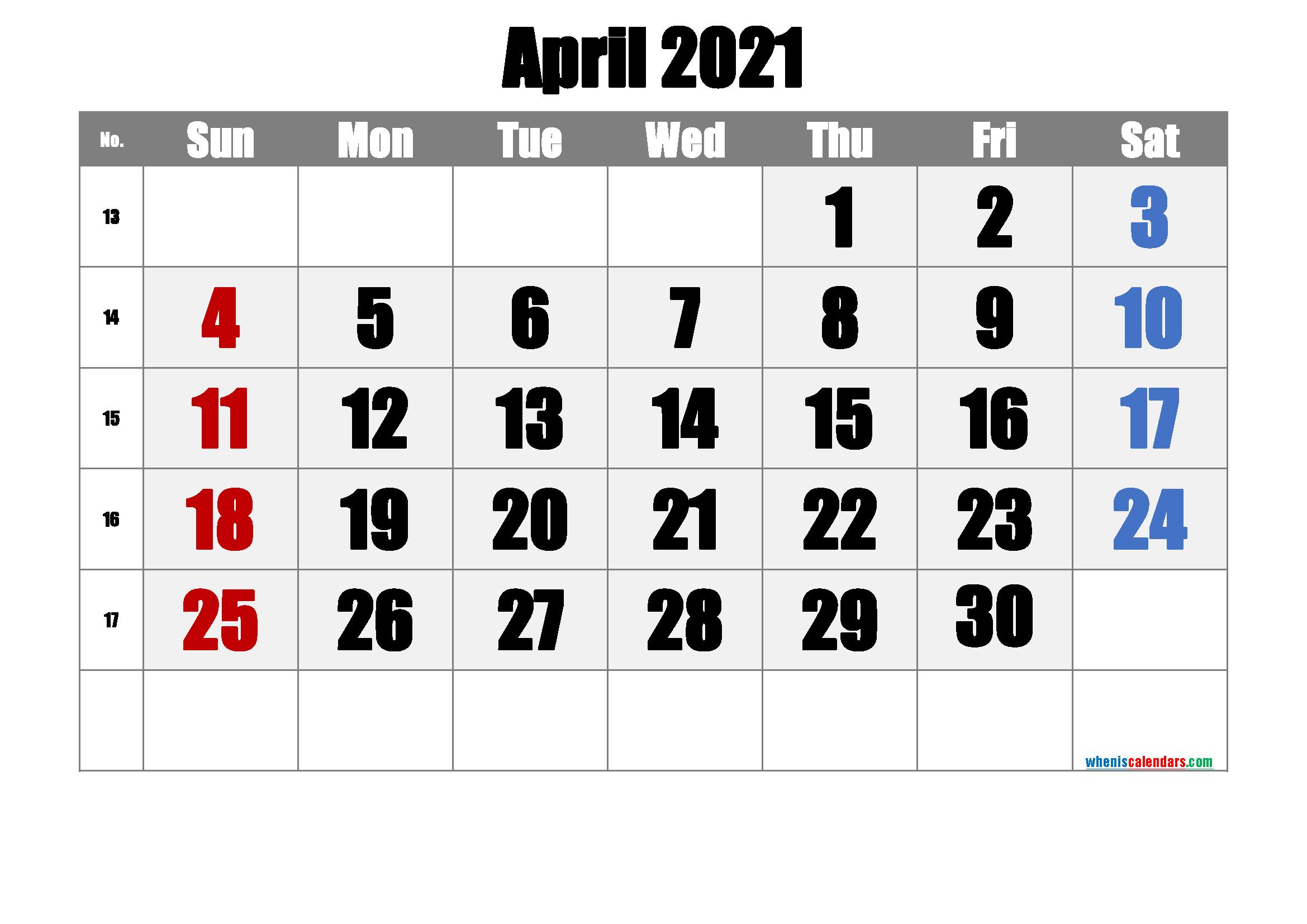 Apr 2021 Calendar Free Printable
