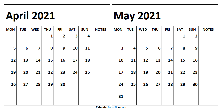 April May 2021 Calendar Free Printable
