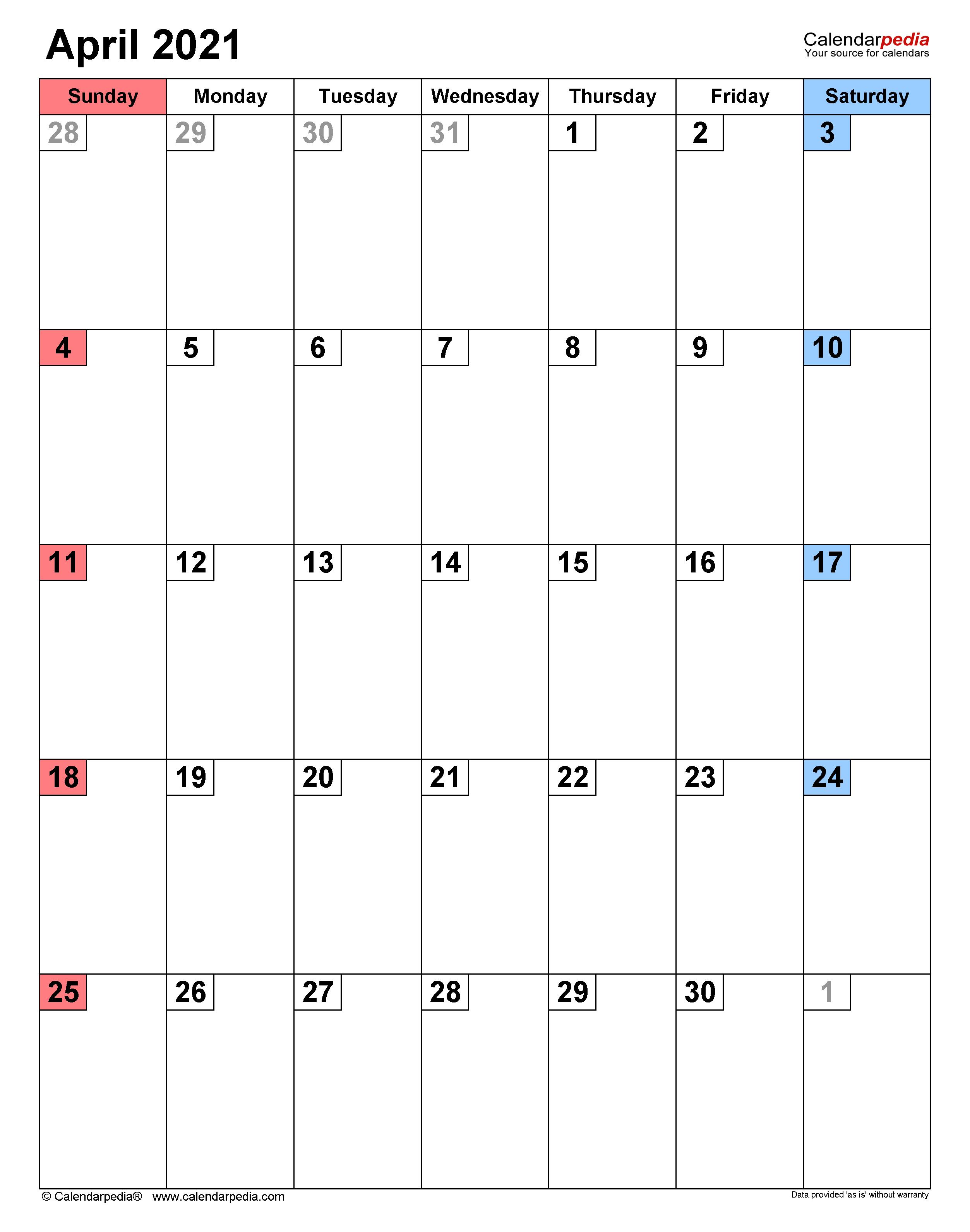 Calendar 2021 April Blank