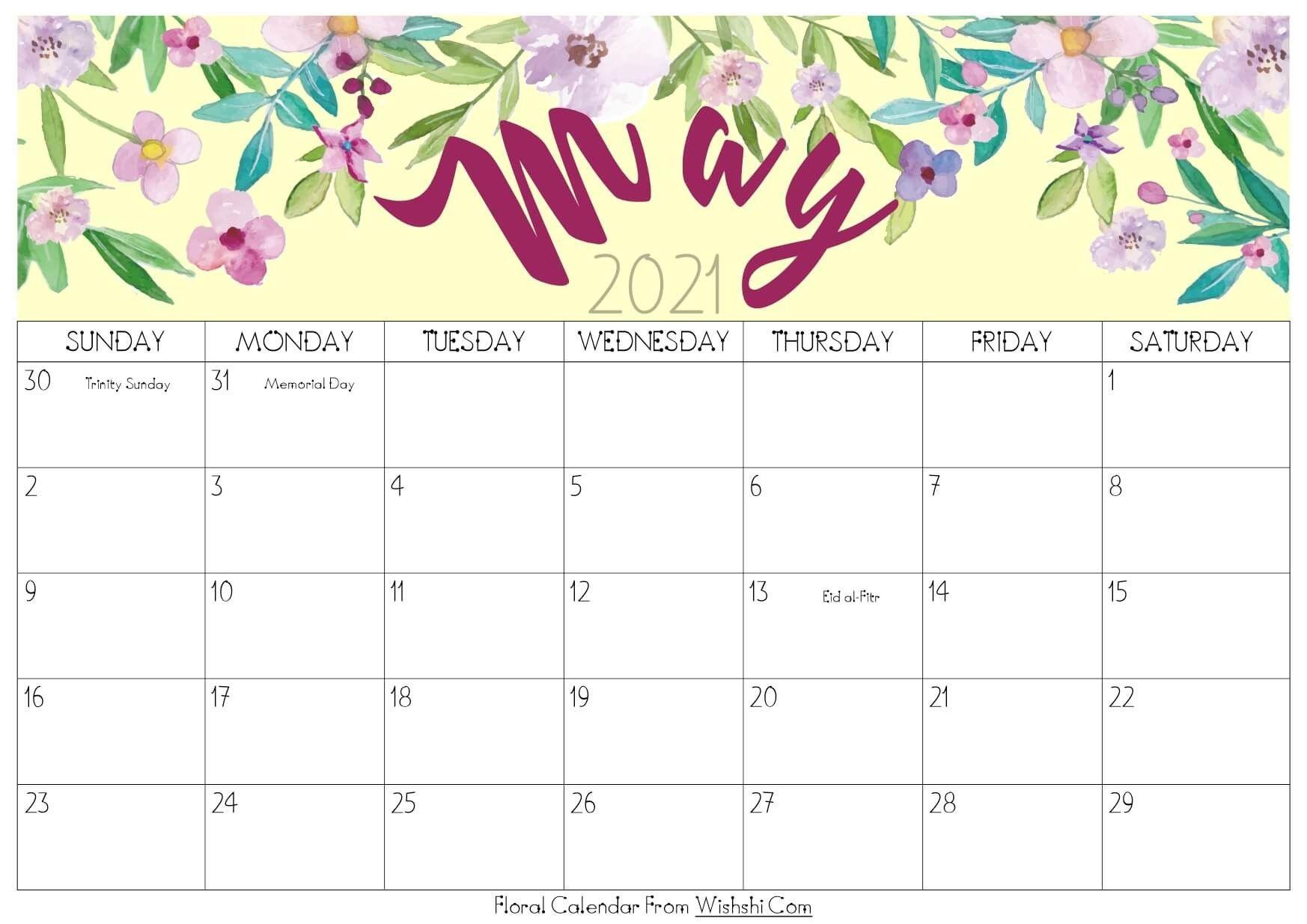 Calendar 2021 May Free Printable
