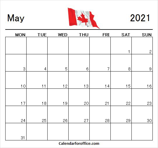 Blank May 2021 Calendar Canada
