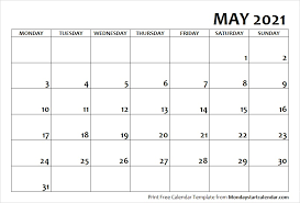Calendar May 2021 Monday