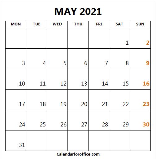 Calendar May 2021 Start Monday