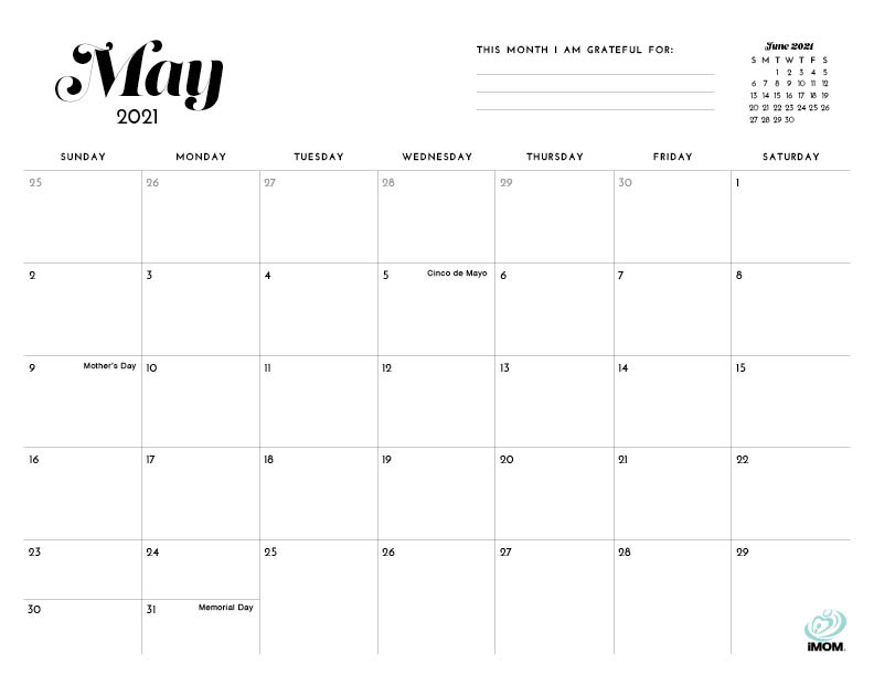 May 2021 Calendar Blank Printable