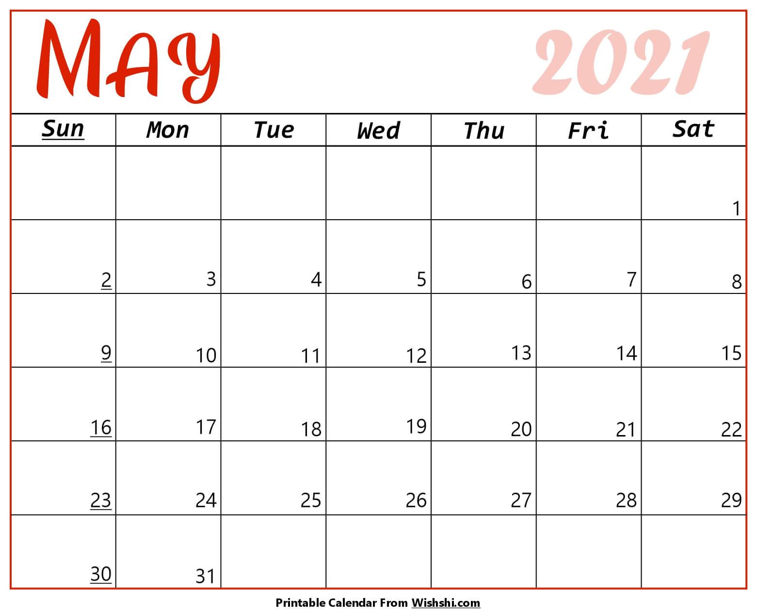 May Calendar 2021 Blank