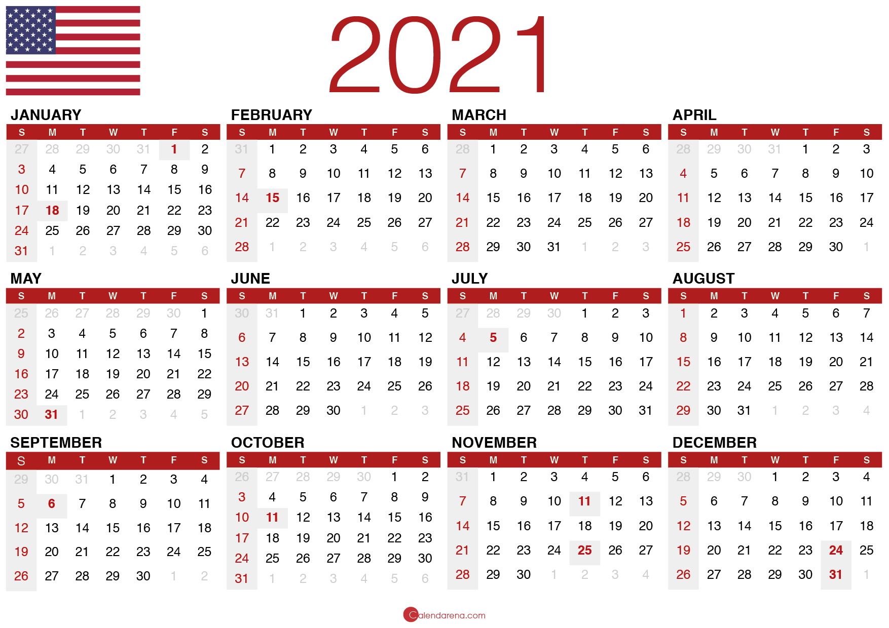 May Calendar 2021 Print USA