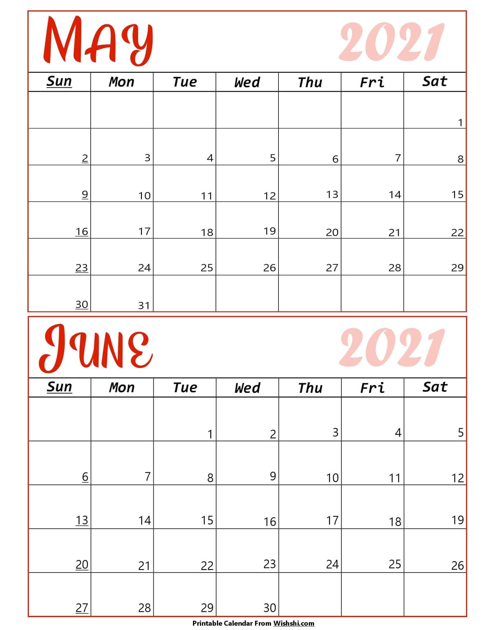 May June 2021 Calendar Colorful