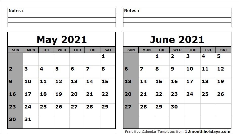 May June 2021 Printable Calendar Pinterest