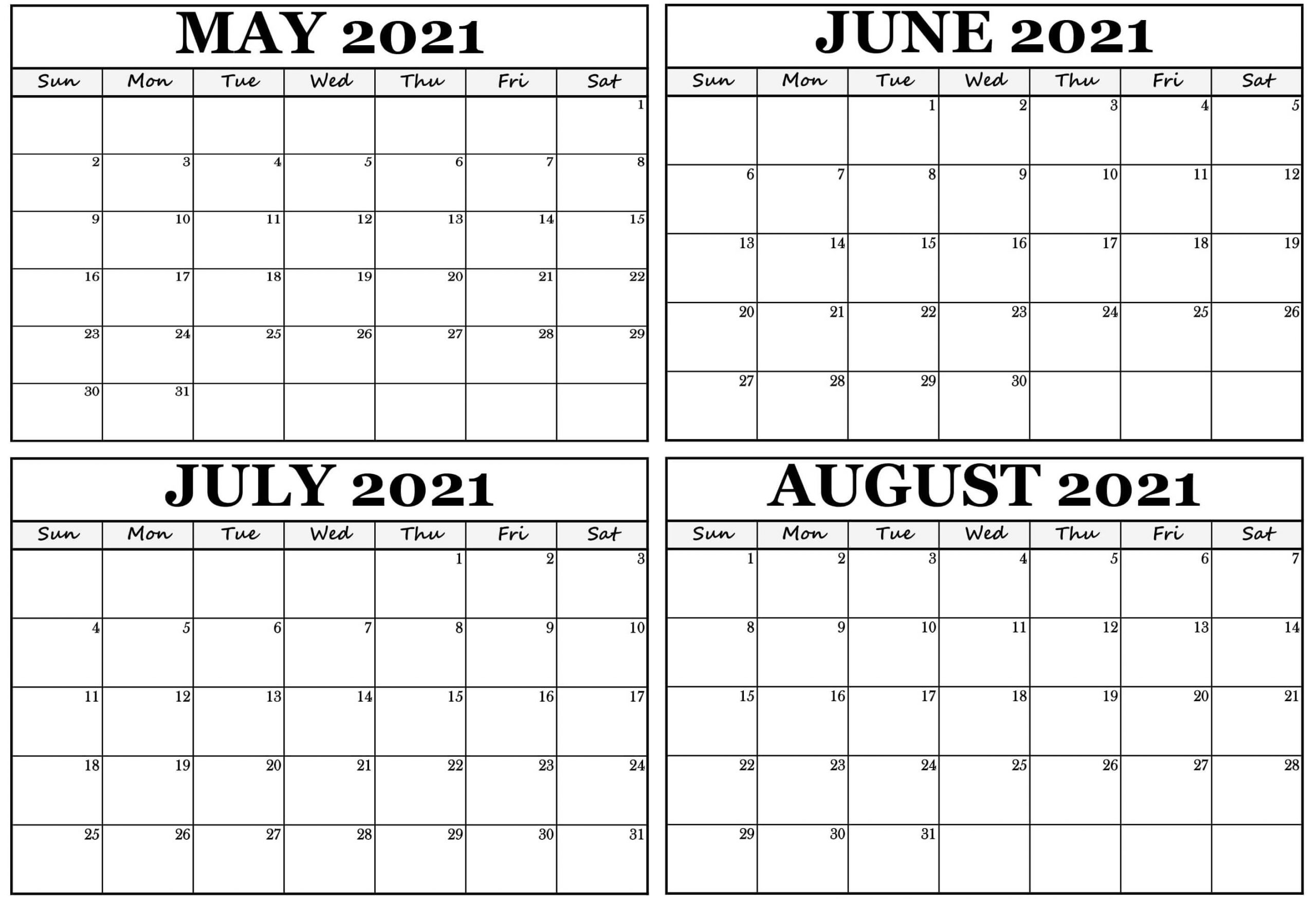 Blank Printable Calendar May to July 2021